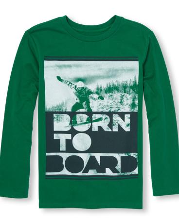 Boys Long Sleeve 'Born To Board' Graphic Tee
