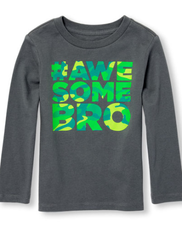 Toddler Boys Long Sleeve Camo Print 'Hashtag Awesome Bro' Graphic Tee
