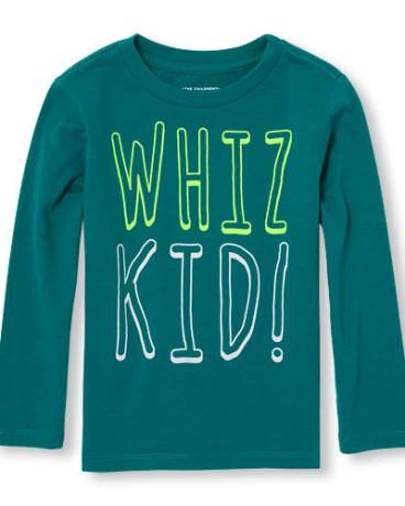 Toddler Boys Long Sleeve 'Whiz Kid' Graphic Tee