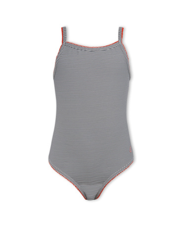 Girls' one-piece pinstriped swimsuit
