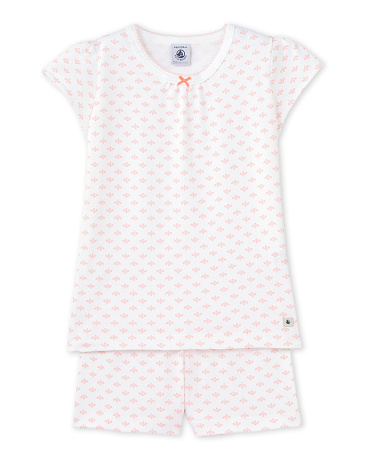 Girls' rose print short pyjamas