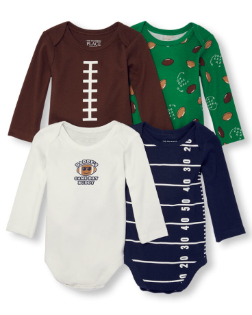 Baby Boys Long Sleeve 'Daddy's Game Day Buddy' Bodysuit 4-Pack