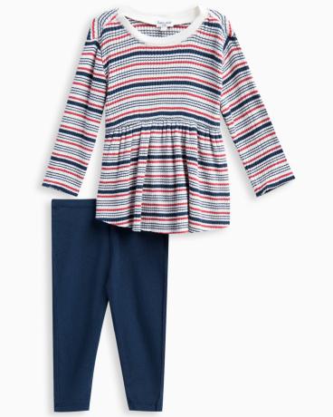 Baby Girl Rib Stripe Sweater Set
