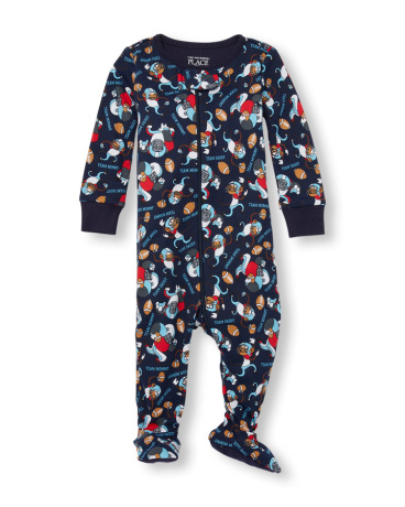 Baby And Toddler Boys Long Sleeve Team Family Monkey Print Footed Stretchie