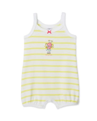 Baby girl's bloomer bodysuit with spaghetti straps