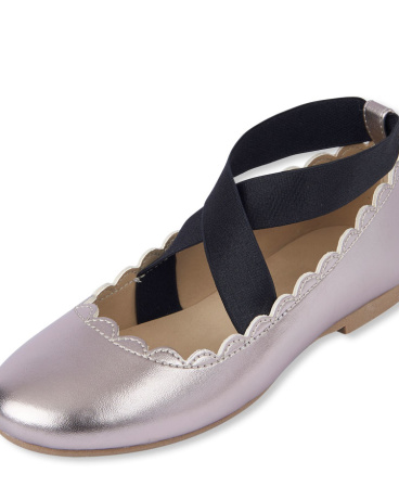 Girls Criss-Cross Metallic Kayla Ballet Flat