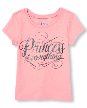 Toddler Girls Short Sleeve Glitter 'Princess Of Everything' Graphic Tee