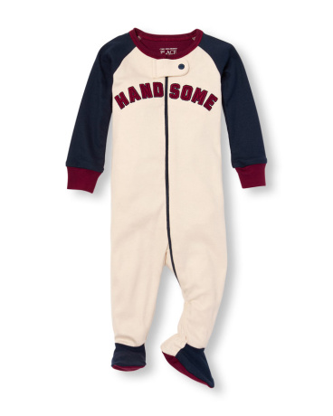 Baby And Toddler Boys Long Raglan Sleeve Embroidered 'Handsome' Footed Stretchie