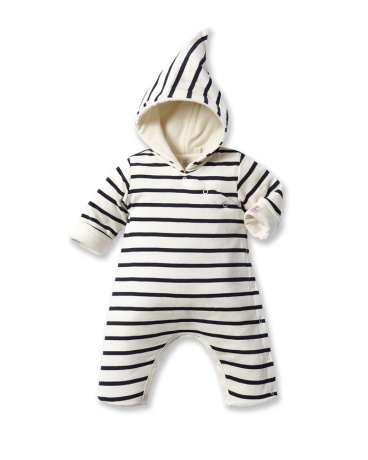 Baby striped hooded all-in-one