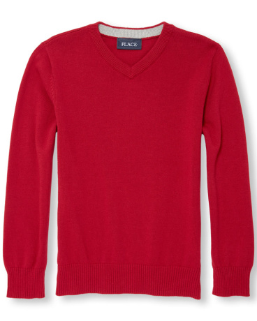 Boys Long Sleeve Solid V-Neck Sweater