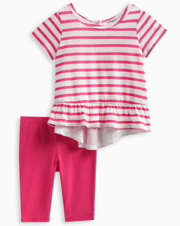 Baby Girl Stripe Top with Solid Legging Set
