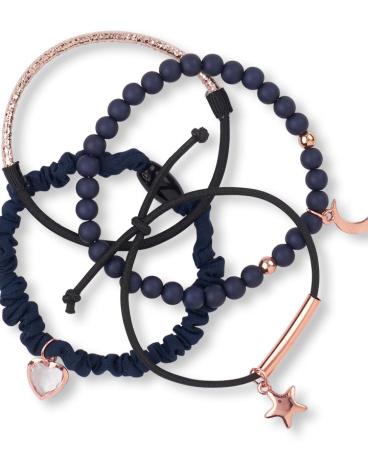 Girls Moon Star And Heart Bracelet 4-Pack