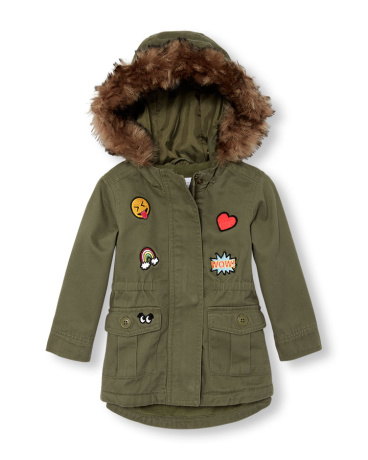 Toddler Girls Long Sleeve Patched Faux Hooded Parka