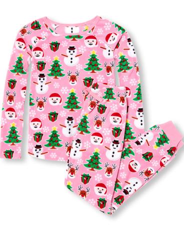 Womens Long Sleeve Christmas Print Top And Pants Glacier Fleece PJ Set