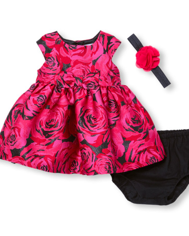 Baby Girls Sleeveless Rose Jacquard Dress Flower Headwrap And Bloomers Set