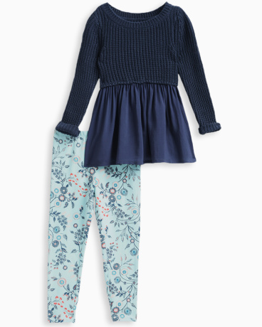 Little Girl Sweater Top with Allover Print Pant