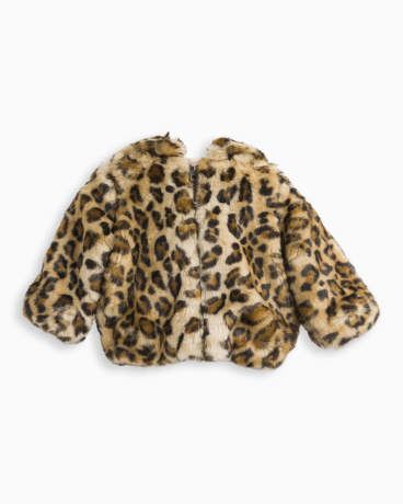 Baby Girl Leopard Faux Fur Hooded Jacket
