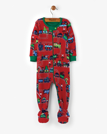 Magical Christmas Train Organic Cotton Baby Footed Coverall