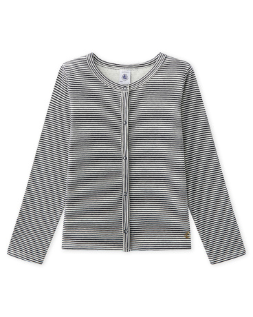 Girl's milleraies-striped double knit cardigan