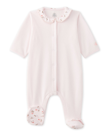 Baby girl's velours sleeper