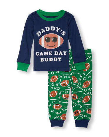 Baby And Toddler Boys Long Sleeve 'Daddy's Game Day Buddy' Football Top And Printed Pants PJ Set