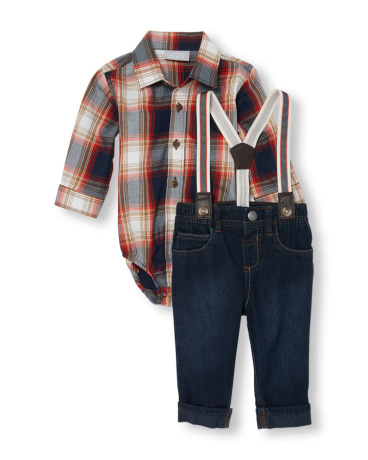 Baby Boys Long Sleeve Plaid Twill Button-Down Bodysuit Suspenders And Cuffed Jeans Set