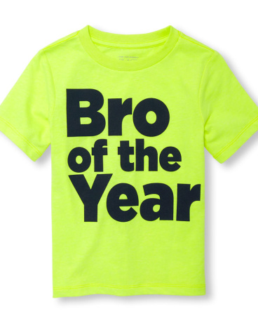 Toddler Boys Short Sleeve 'Bro Of The Year' Neon Graphic Tee