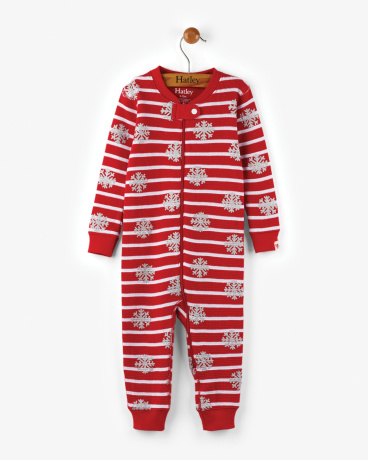 Candy Cane Organic Cotton Baby Waffle Coverall