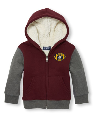 Toddler Boys Faux Sherpa-Lined Colorblock Fleece Zip-Up Hoodie