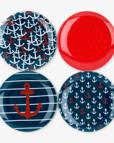 Graphic Anchors Dessert Plate Set
