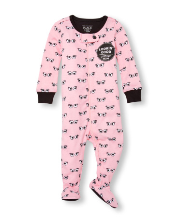 Baby And Toddler Girls Long Sleeve 'Lookin' Good Just Like Mom' Eyeball Print Footed Stretchie