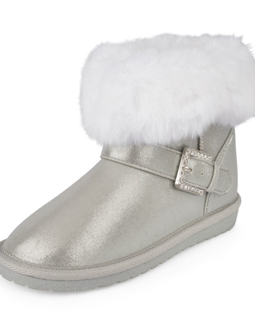 Girls Rhinestone Buckle Faux Fur Chalet Boot