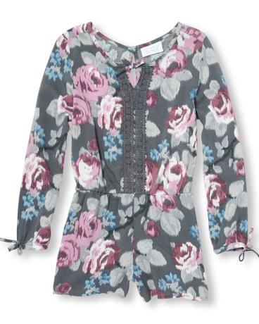 Girls Long Sleeve Rose Print Woven Romper