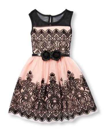 Girls Sleeveless Belted Velvet Floral Print Mesh Dress
