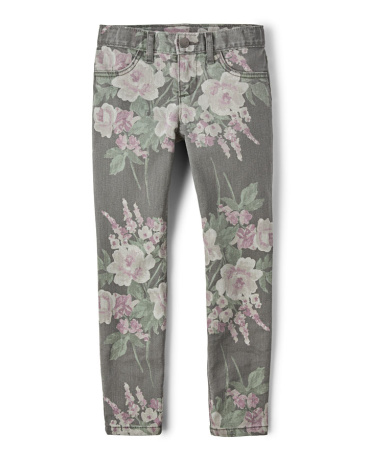 Girls Floral Print Denim Jeggings