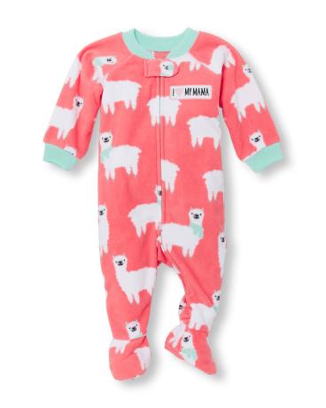 Baby And Toddler Girls Long Sleeve 'I Heart My Mama' Llama Printed Footed Blanket Sleeper