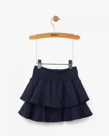 Smocked Navy Ruffly Skirt