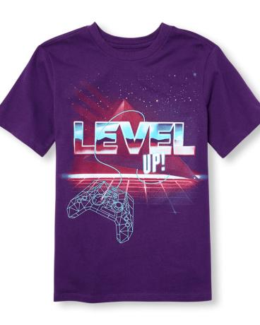 Boys Short Sleeve 'Level Up' Gamer Graphic Tee