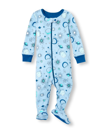 Baby And Toddler Boys Long Sleeve 'Goodnight Dad' Celestial Space Print Footed Stretchie