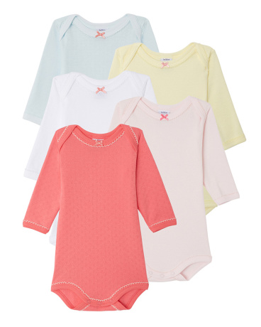 Pack of 5 baby girl long-sleeved bodysuits