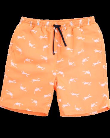 Boys Orange Print Drawstring Swim Trunk