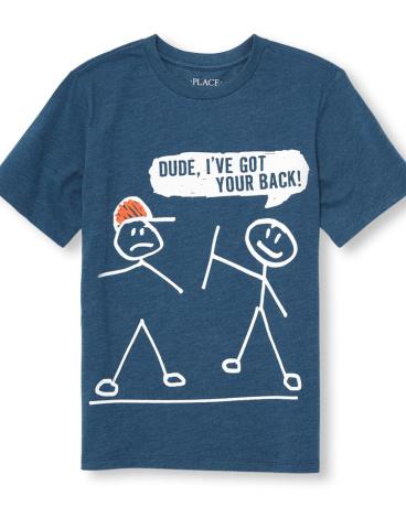 Boys Short Sleeve 'Dude I've Got Your Back' Stick Figures Graphic Tee
