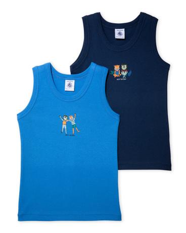 Pack of 2 boy's patterned vest tops