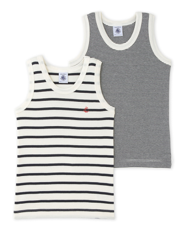 Pack of 2 boy's striped vest tops