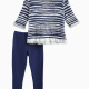 Little Girl Printed Stripe Loose Knit Set