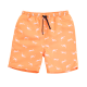 Boys Orange Print Drawstring Swim Trunk
