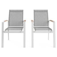 Malibu Outdoor Dining Chair Set of 2 with Teak Armrest