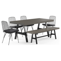 Smeaton Outdoor Dining Table with Chair and Bench Set