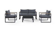 Malibu 2 seaters 2 seaters outdoor lounge set charcoal grey front