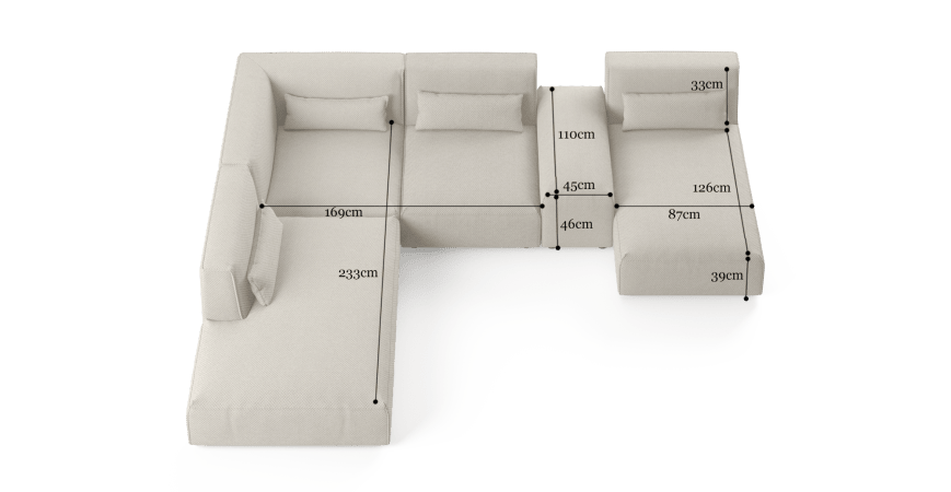 Drake 5 Seater Modular Sofa with Chaise and Ottoman